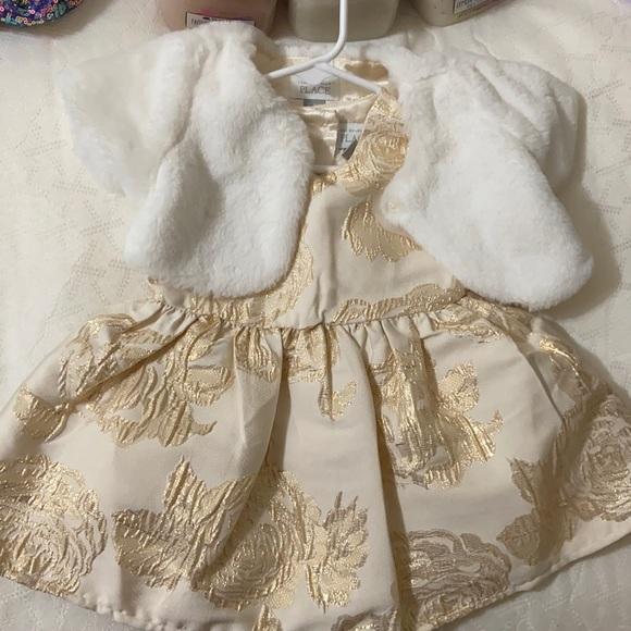 Cream/gold girls dress